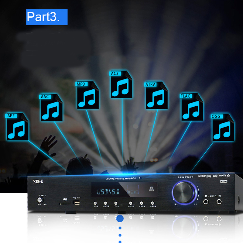 5.1 Channel Home Theater Home High Power Professional Digital Amplifier HIFI 500W/650W 220V AV-408 Bluetooth Amplifier