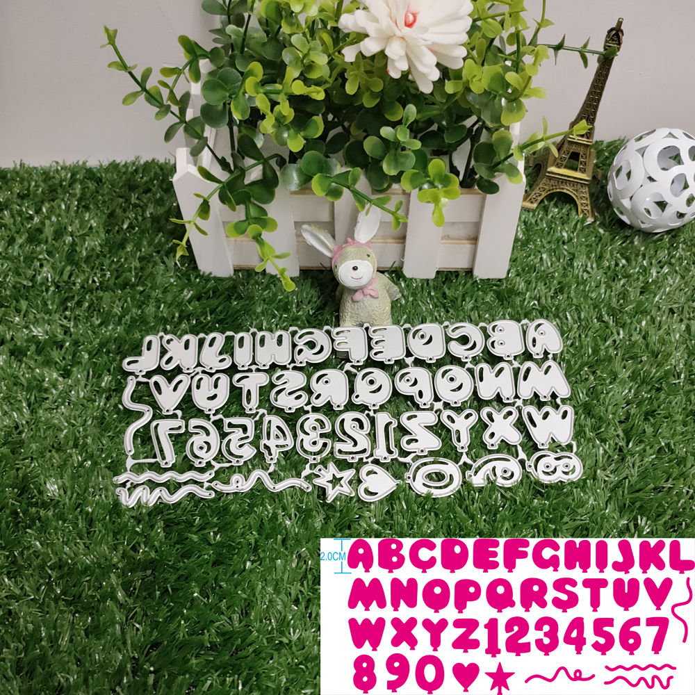 Numeric and alphabetic metal contains 26 letters cutting dies scrapbook Balloon Font cutting dies embossing template technology