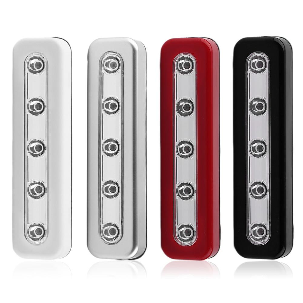 2019  Super Brightness Wireless Wall Light 5 LED Cabinet Closet Self-Stick Tap Light Home Night Emergency Touch Light Lamp