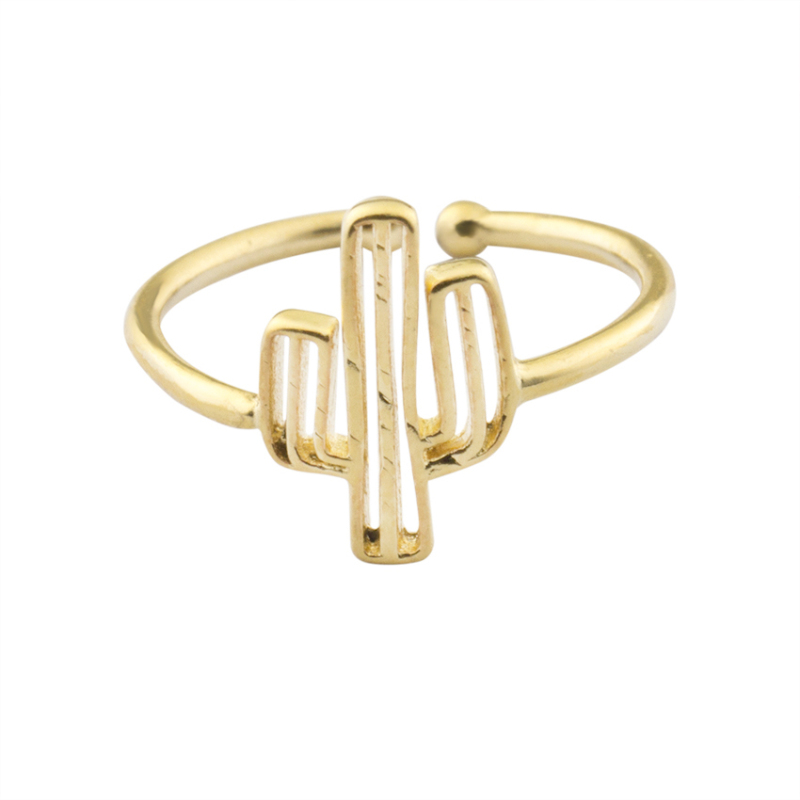 Bohemia Cactus Adjustable Ring For Women Beach Cocktail Party BFF Jewelry Mom Gifts Gold Color Plant Finger Anel Masculino