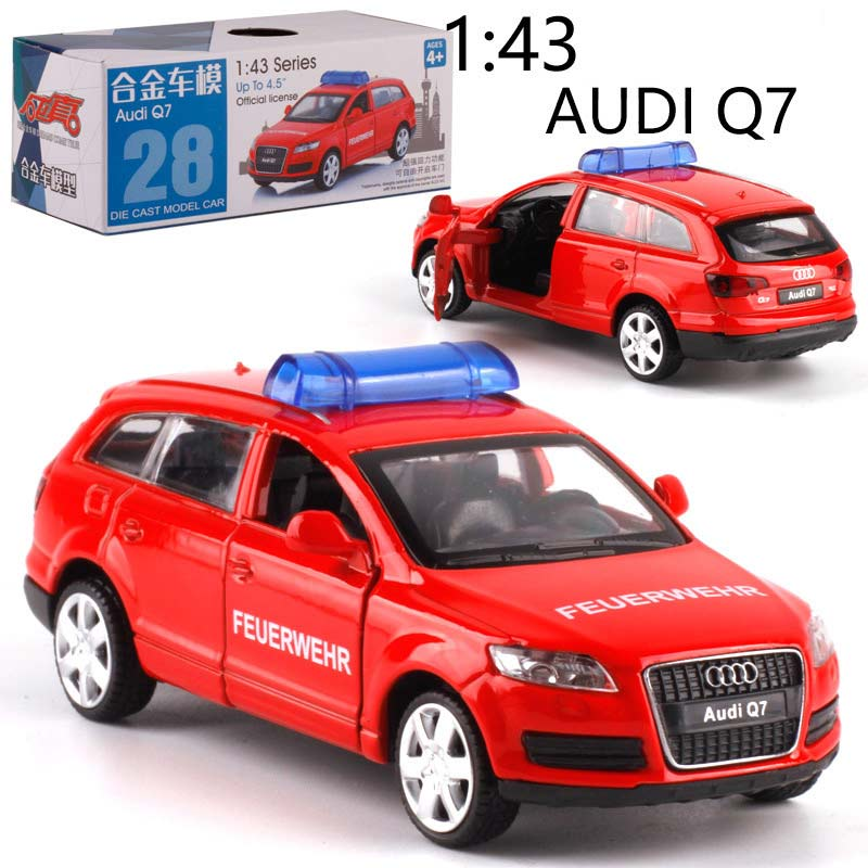 CAIPO 1:43 Police Audi Q7 BMWX6 Alloy Pull-back Vehicle Model Diecast Metal Model Car For Boy Toy Collection Children Gift