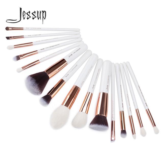 Jessup pinceaux de maquillage professionnel complet fond de teint poudre définisseur ombre eye liner mélangeur 15 pièces blanc / or rose