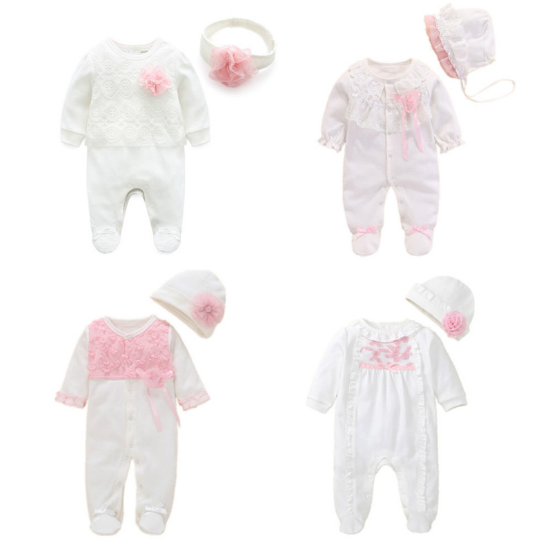 2020 Spring Newborn Baby Girl Footies 0 3 Months Cotton White Long Sleeve Baby Jumpsuit With Footies Outfit Baby Girl Clothing