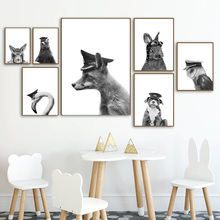 Black White Fox Owl Bear Dog Rabbit Flamingo Wall Art Canvas Painting Nordic Posters And Prints Animals Pictures Kids Room
