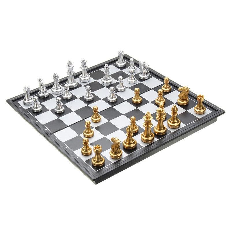 Jogo de Xadrez Peças de Ouro Jogos de Tabuleiro Prata Dobrável Magnético Placa Contemporânea Conjunto Diversão Família Presentes Natal Mod. 312700