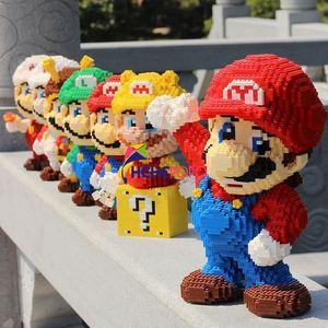 Mario Yoshi Mini Blocks Big Models All Mario Design Blocks Anime DIY Micro Building Block Toys Auction Model Toy Kids Gifts