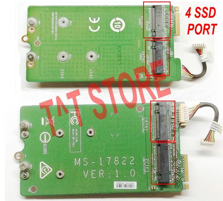 Original pour carte d'interface disque dur MSI GT72 GT72S 6QE SSD HDD avec câble 2 PORT M.2 NVME SATA + 2 PORT PCI-E MS-17822