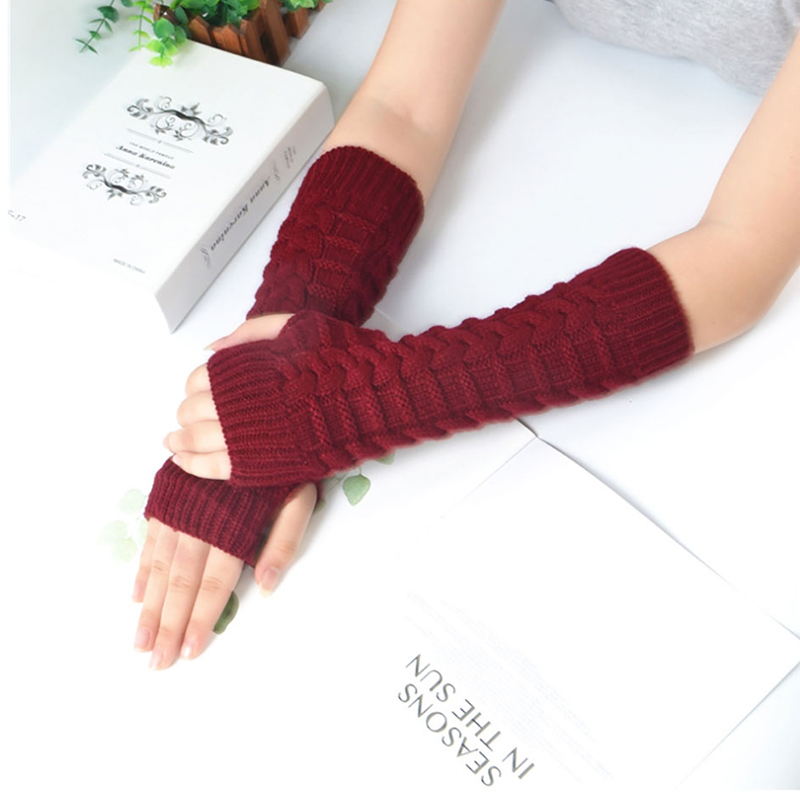 Soft Gloves Lady Winter Autumn Women Warm  Arm Warmer Twist Long Fingerless Knit Mitten Practical Casual Gloves