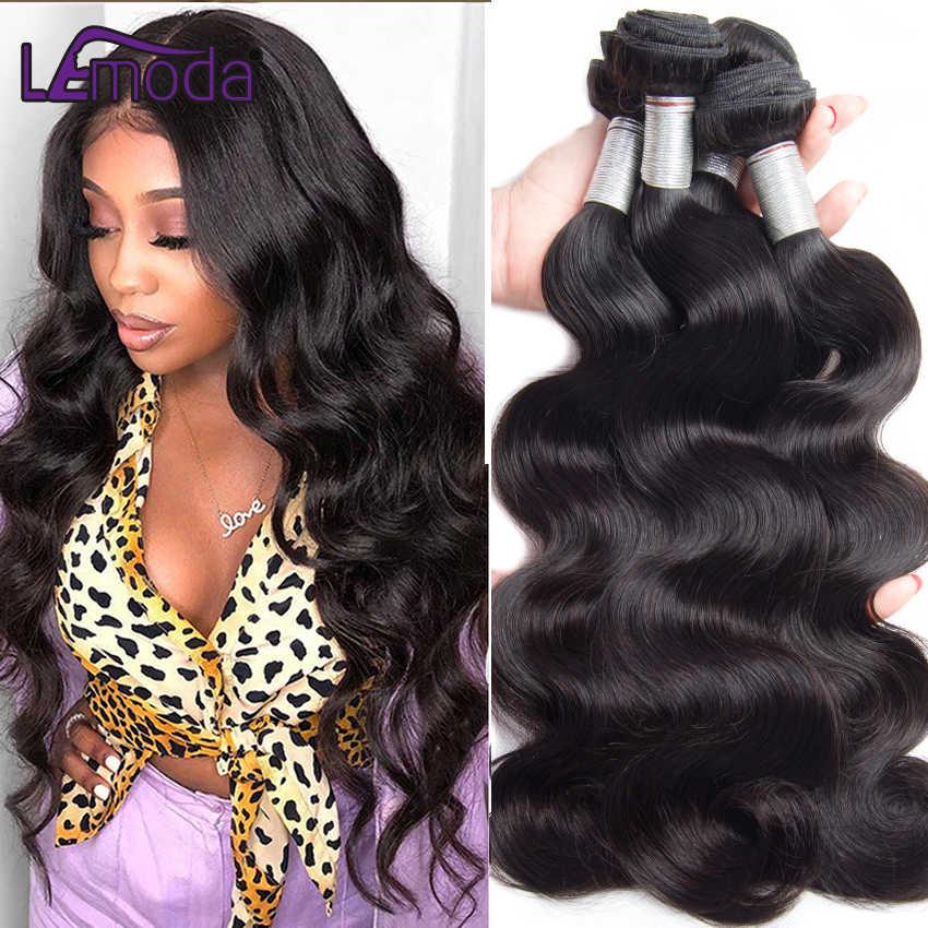 40 zoll Lemoda Körper Welle Menschliches Haar Bundles Brasilianische Haarwebart Bundles Farbe 1B Remy Haar Extensions 3 Bundles