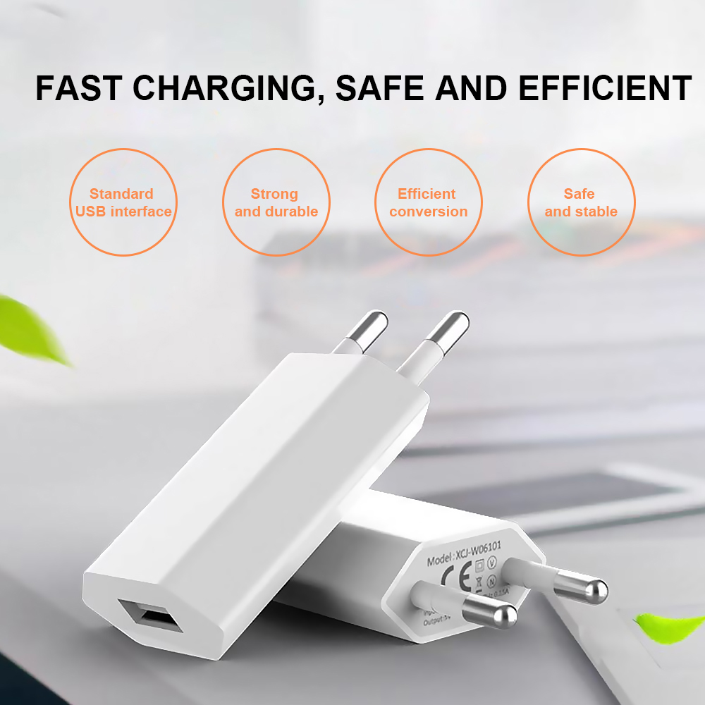 Besegad 2PCS 5V/1A Universal USB Adapter Wall Charger Power Supply Adaptor for Smartphones Tablet Home Office Travel Use EU Plug