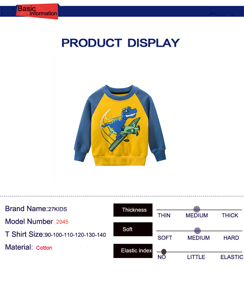 27kid Dinosaur Pattern Boys kids T-shirt For Kids Autumn Sweatershirt Blouse Tops Children's sweater hood Spring Clothing 5