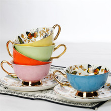European Bone China Coffee Cup Colorful Porcelain Butterfly Ceramic Tea Cup And Saucer Set British Office Teacup Drinkware Gift