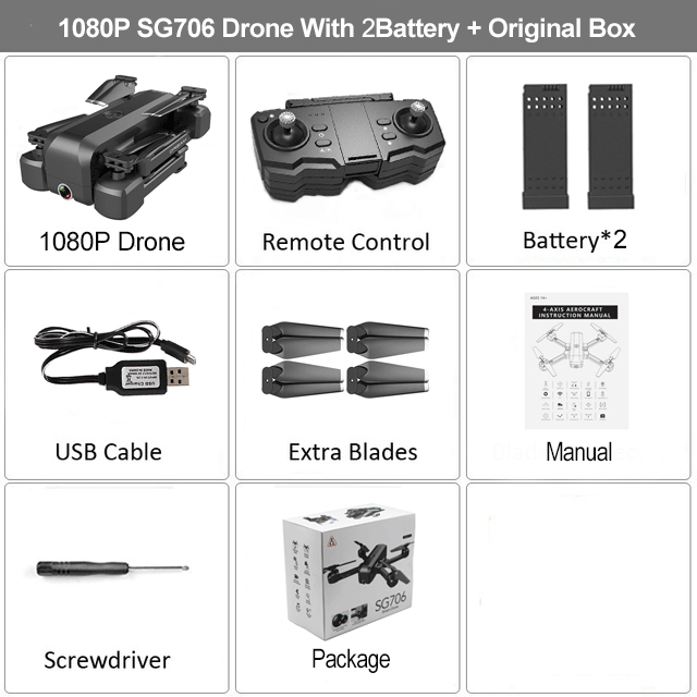SG706 RC Drone with 50 Times Zoom WiFi FPV RC Quadcopter 4K/1080P Dual Camera Optical Flow Foldable Professional Drone VS Xs816