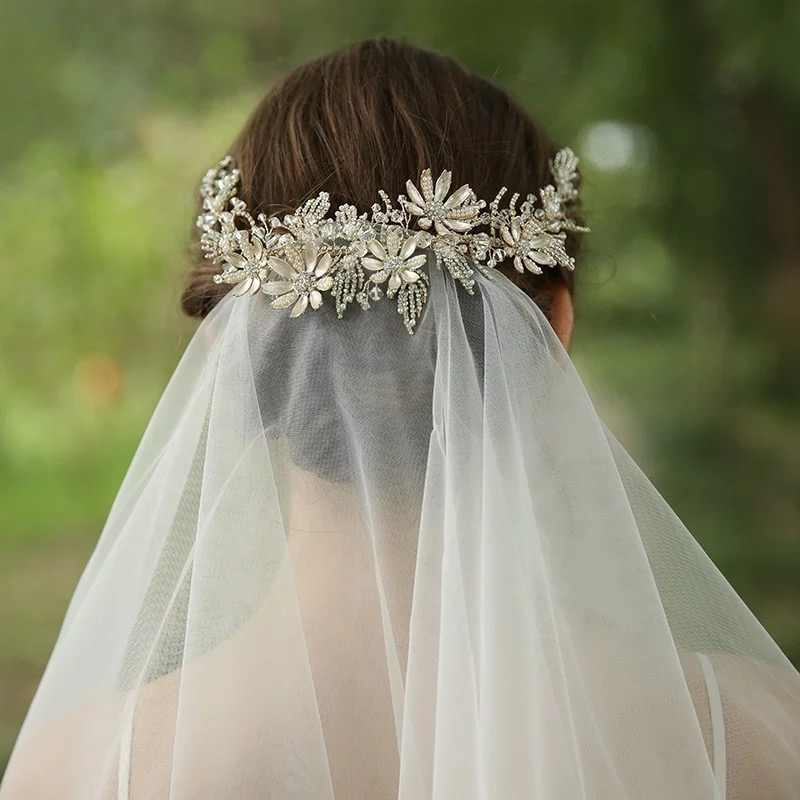 Luxury Floral Bridal Headband Light Gold Wedding Hair Vine Crown Party Prom Hair Jewelry For Brides 2020 Fashion Accessories