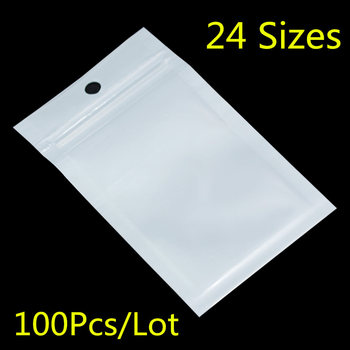 100PCS Small White / Clear Zip Lock Plastic Package Bags with Zipper Self Seal Transparent Ziplock Poly Packaging Bag Hang Hole 3000pcs lot 12 20cm gold silver self seal zipper plastic retail packaging storage bag zip lock plastic bag w hang hole