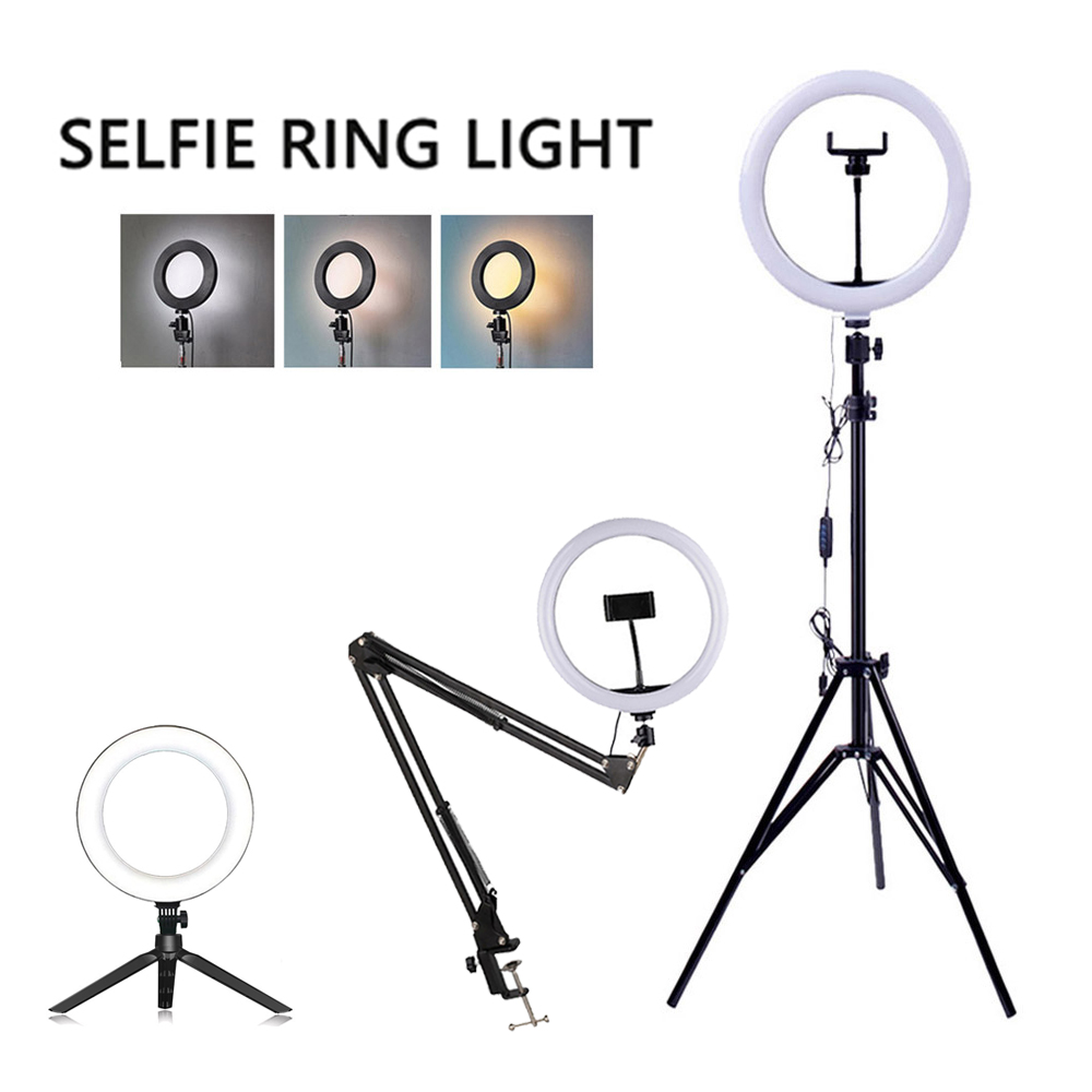 LED Light Ring Lamp Tripod Round Selfie Ring Light with Tripod for Mobile Phone tiktok youtube Photography Lamp Hoop Ringlights
