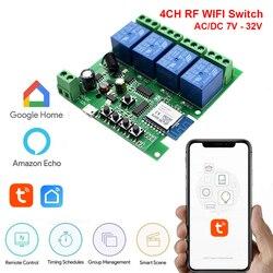 Релейный модуль Wi-Fi, 12 В/24 В переменного тока/постоянного тока, 7-32 В, 2-канальный приемник, работает с приложением Alexa Google Assistant Tuya Smart Life
