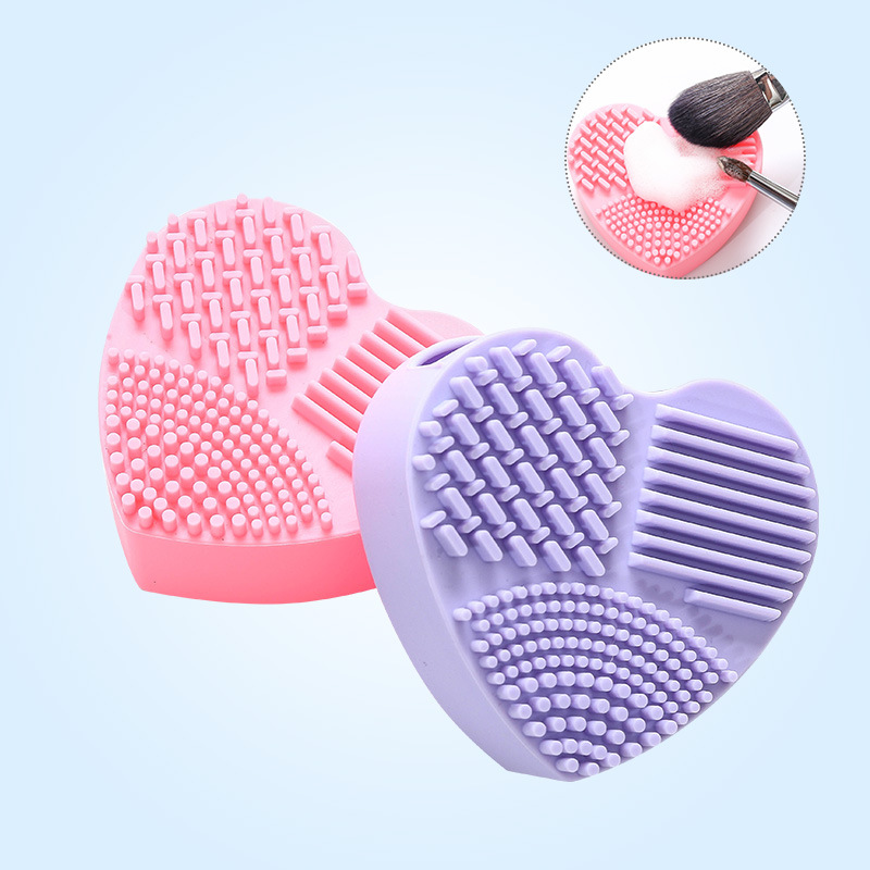Manufacturers Hot Sales Silica Gel Heart Shape Scourer Makeup Brush Cleaning Tool New Style Heart Shape Makeup Brush Qing Qi