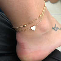 Tobilleras sencillas de mujer con corazón, joyería de Crochet descalza para pies para sandalias, tobillera para pie, pulseras de tobillo para mujer, cadena para pierna