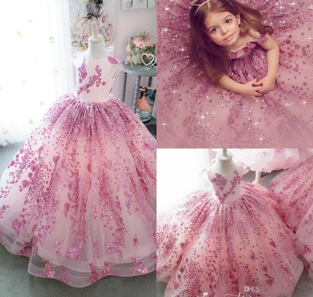 Bling Bling Little Girls Pageant Dresses Lace Sequins Cap Sleeve Ball Gown Flower Girl Dress For Wedding Kids Formal Wear
