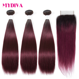 Burgundy Ombre Bundles With Closure Brazilian Hair Weave 3 Bundles With Closure Straight Colored Bundles With Closure Non Remy(China)