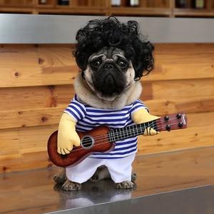 Модная одежда для собак, крутая Одежда для собак, костюм для собак, хлопок, повседневная, забавная, с гитарой, взрывное пальто, Сменное платье