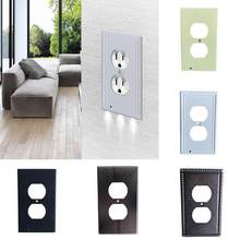 Newest 3 Led Light Night Sensor LED Plug Cover Wall Outlet Coverplate Double-hole Switch Lamp Outlet Cover(China)