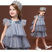 Платье кроя принцесса для девочек, платье для девочки с принтом в виде героев Для детей, на лето, милое Сетчатое блестками нарядное вечерние ...
