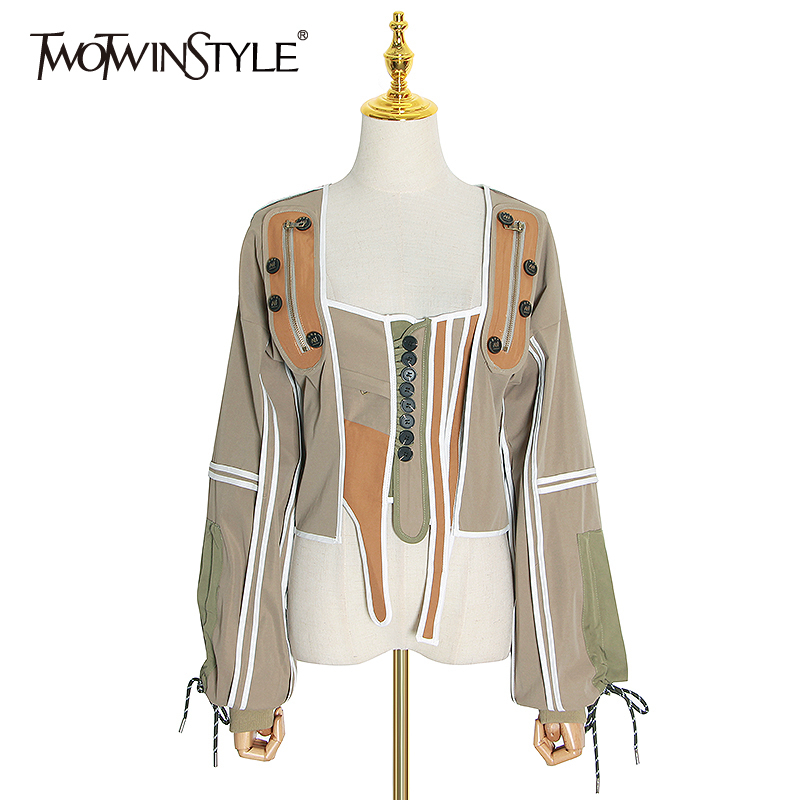 TWOTWINSTYLE  Patchwork Hit Color Irregular Coats For Women Square Collar Lantern Sleeve Lace Up Jackets Female 2020 Fashion New