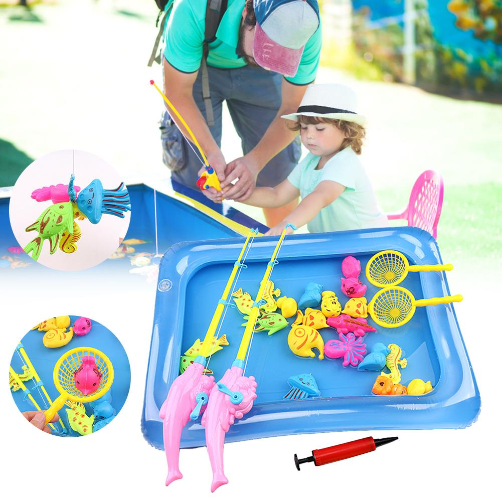 Magnetic Fishing With Inflatable pool Parent-child interactive Toys Game Kids 1 Rod 1 net <font><b>12</b></font> <font><b>3D</b></font> Fish Baby Bath Toys For Kids image