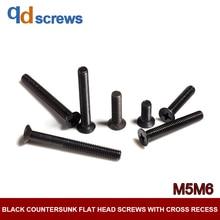 4.8 M5M6 Black Countersunk flat head screws with cross recess Phillips Cross ScrewGB819-76 DIN965 ISO 7046