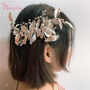 Image 2 - 手作りゴージャスな葉結婚式の毛の櫛花嫁のヘアアクセサリージュエリー光沢のあるクリスタルウェディングかぶとRE3376