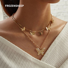 FROZENSHEEP Creative Retro Golden Butterfly Pendant necklace Charming 2020 new Double Layered chain necklack personality jewelry double layered pendant necklace