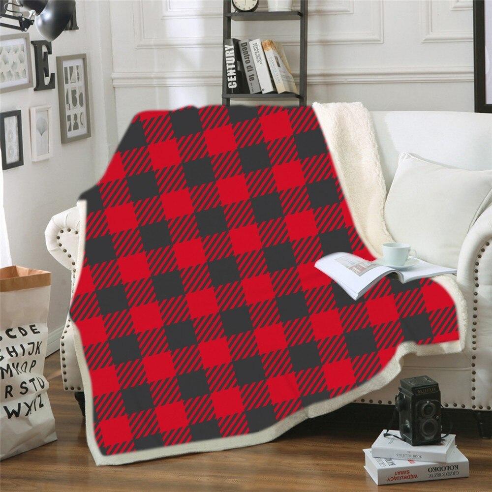 Геометрический дизайн, одеяло с капюшоном, 3d принт, цветное клетчатое шерстяное одеяло для взрослых, зимнее портативное теплое одеяло - 2