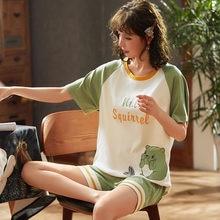 Новая Пижама женская летняя Хлопковая пижама с коротким рукавом