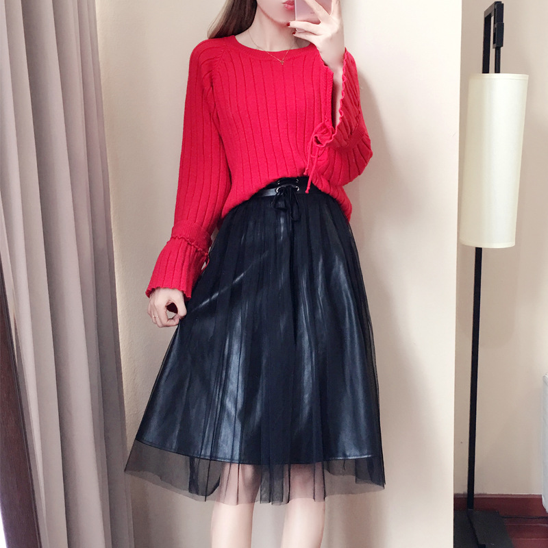 Set Women's Sweet Sweater PU Leather Skirt Long Sleeve WOMEN'S Dress Wholesale Autumn And Winter 2019 New Style A- Line Skirt 90