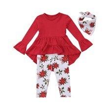 hilittlekids Toddler Kids Baby Girl Solid Color Tuxedo Hem Shirt Floral Print Pants Set Kids Clothes Set
