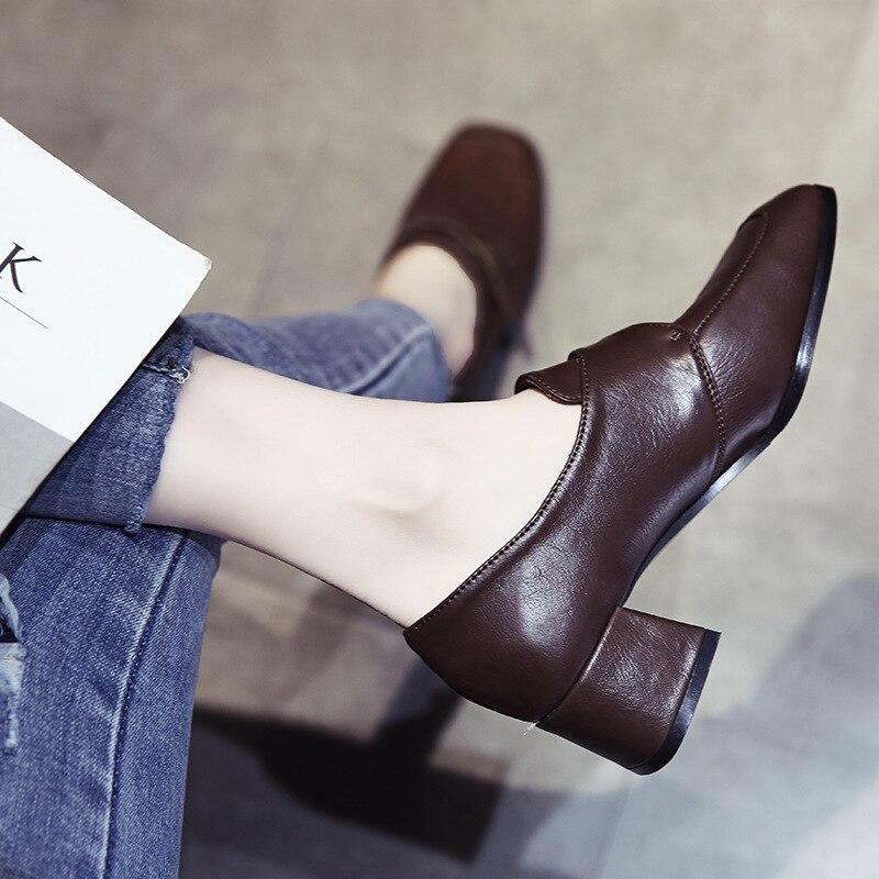 Ev ve Bahçe'ten Ayakkabı Rafları ve Organizatörleri'de Küçük deri ayakkabı kadın yönlü Retro INS chao wang kırmızı yeni stil 2019 kadın ayakkabı rahat İngiliz tarzı sonbahar ve title=