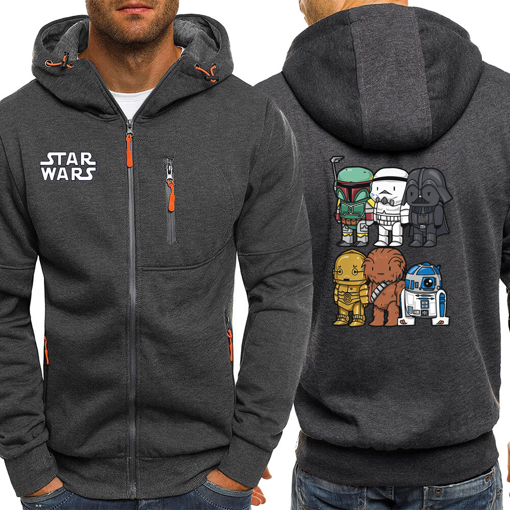 Star Wars Hoodies New Autumn Streetwear Zipper Men Hoodie Sweatshirt Harajuku Anime Jacket Male Casual Coat Hip Hop Tracksuit