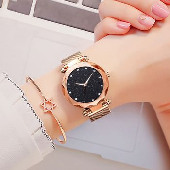 Starry Star Series Womens Watch Magnet Buckle Lazy Quartz Watches Female Rose Gold Watch Relogio Feminino calvinklein minimal series quartz watch k3m2312x