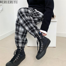WERUERUYU Women's Autumn Casual Pants Clothes Loose Drawstring Clothing Fashion Black White Check Harem