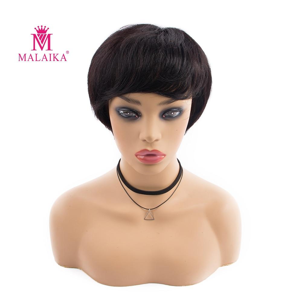 MALAIKA Short Silk Base Wig 130% Brazilian Non Remy Hair Silk Base Human Hair Silk Base Wig