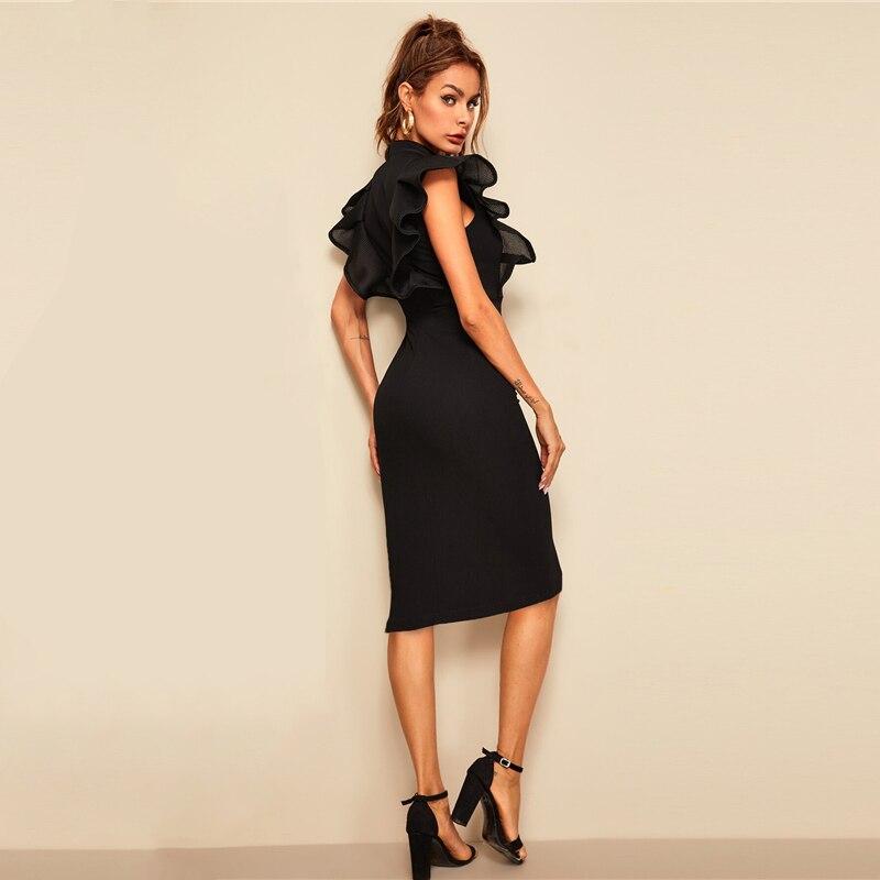 Sheinside Elegant Button Up Pencil Dress Women 19 Summer Layered Ruffle Trim Detail Bodycon Dresses Ladies Solid Midi Dress 7
