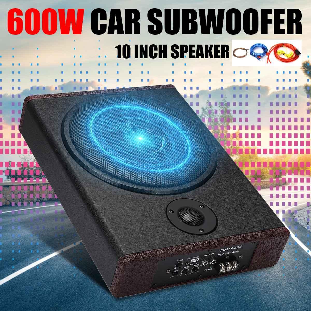10 pouces 600W voiture Subwoofer Audio de voiture mince sous siège actif Subwoofer amplificateur de basse haut-parleur amplificateur de voiture caissons de basses Woofer