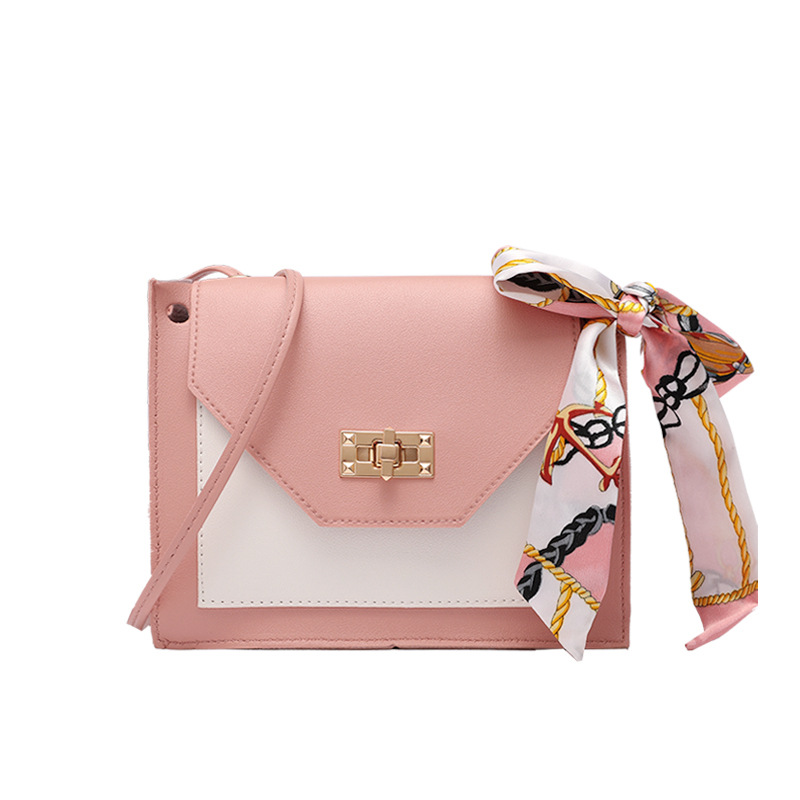 2020 Korean Style Cool Contrasting Color Lock Silk Scarf Small Square Bag Spring And Summer New Messenger Bag Shoulder Phone Bag