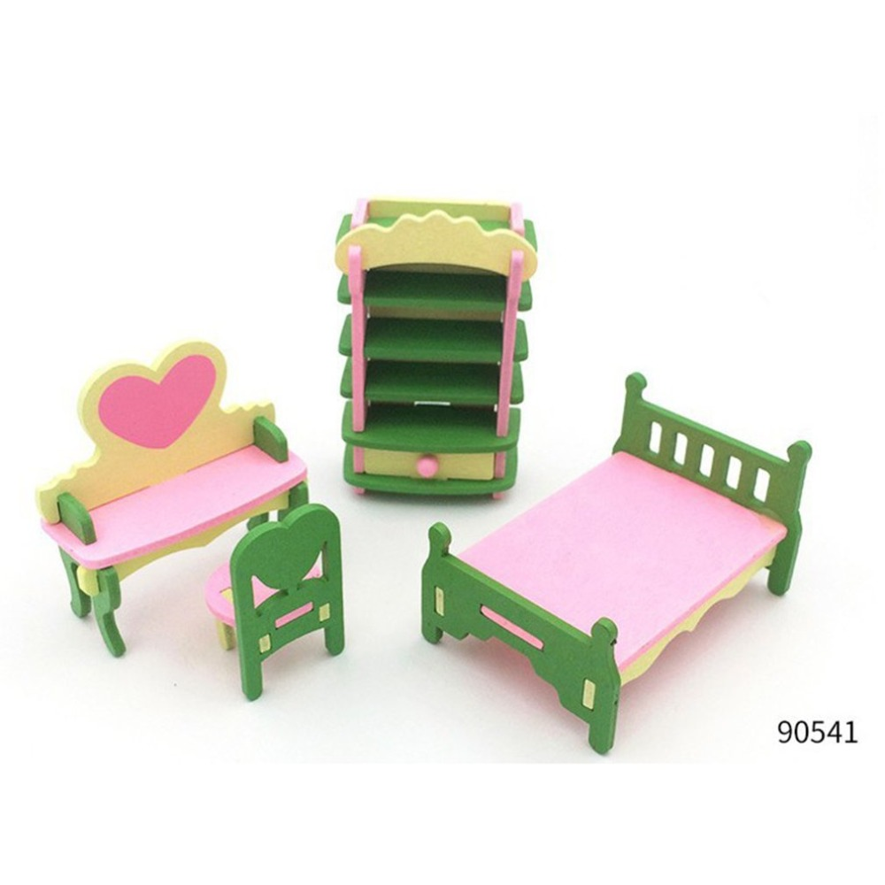 Kids Pretend Role Play House Wood Toy Set Kitchen Babies Room Living Room Mini Ornaments Toys Kit Birthday Gift Emulate Toy