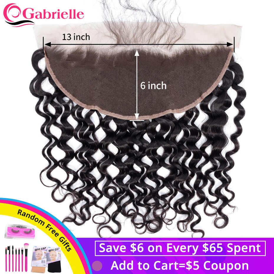 Gabrielle волна 13x6 Кружева Фронтальные бразильские человеческие волосы предварительно выщипанные волосы ЛОБНЫЙ с детскими волосами Волосы remy волос для наращивания