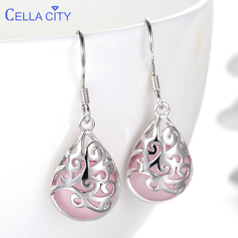 Cellacity Pink White Water Drop Shaped Ear Drops Silver 925 Jewelry Gemstones Earrings For Women Hollowed Pattern Engagement