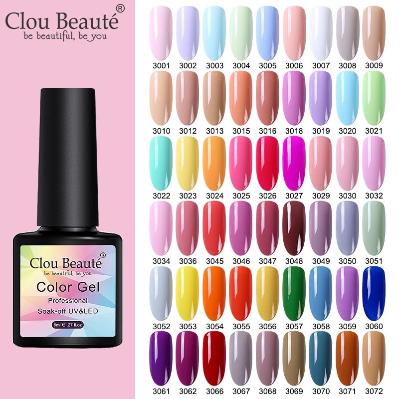 Clou Beaute UV/LED Gel Nail Polish Lakiery Hybrydowe Vernis Semi Permanant Uv Gellak 130 Colors Gel Lak Base Top Nail Gel Polish