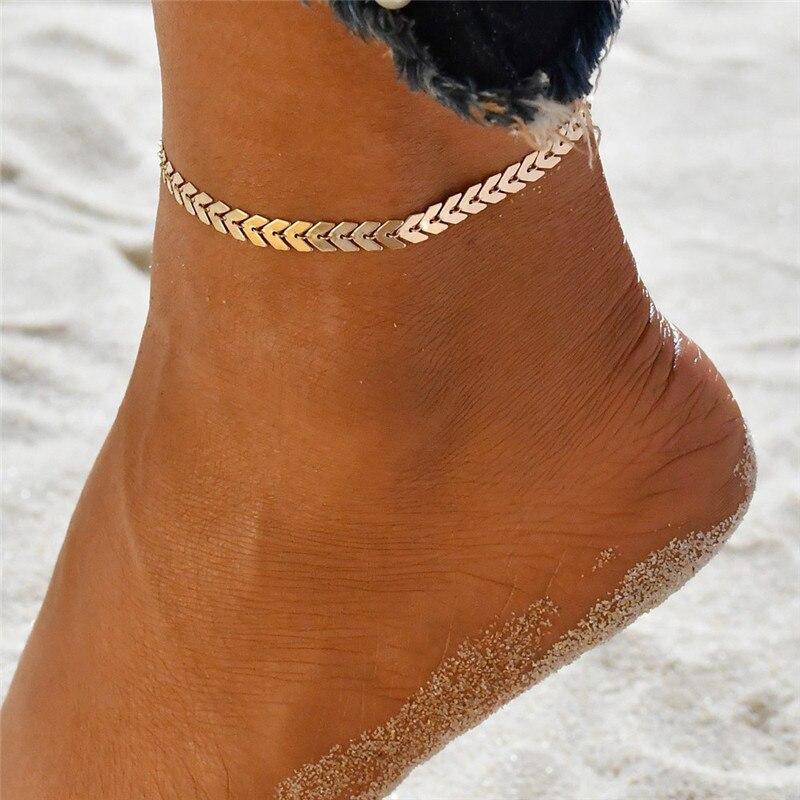 Bohemian Arrow Anklet Bracelet for Women Punk Metal Chain Sequin Anklets Summer Beach Anklet Female Barefoot Leg Chain Jewelry